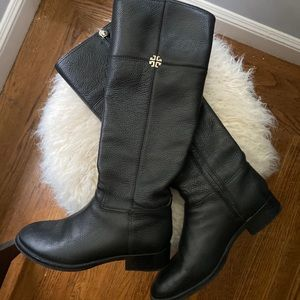Tory Burch Jolie riding boots in black leather